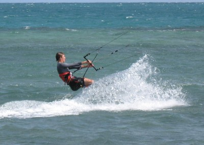 Sam kiteboarding